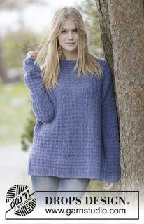 """Fair & Squares - Strikket DROPS genser i 2 tråder """"Brushed Alpaca Silk"""" med struktur, høy hals, splitt i sidene og vrangborder. Str S - XXXL. - Gratis oppskrift by DROPS Design"""