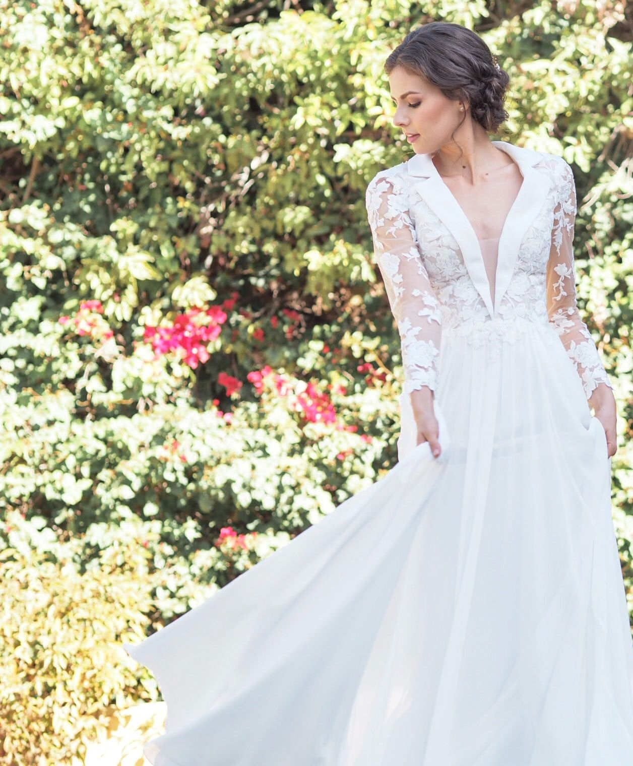 Evelyn bridal salem dress a unique tuxedo style wedding gown with