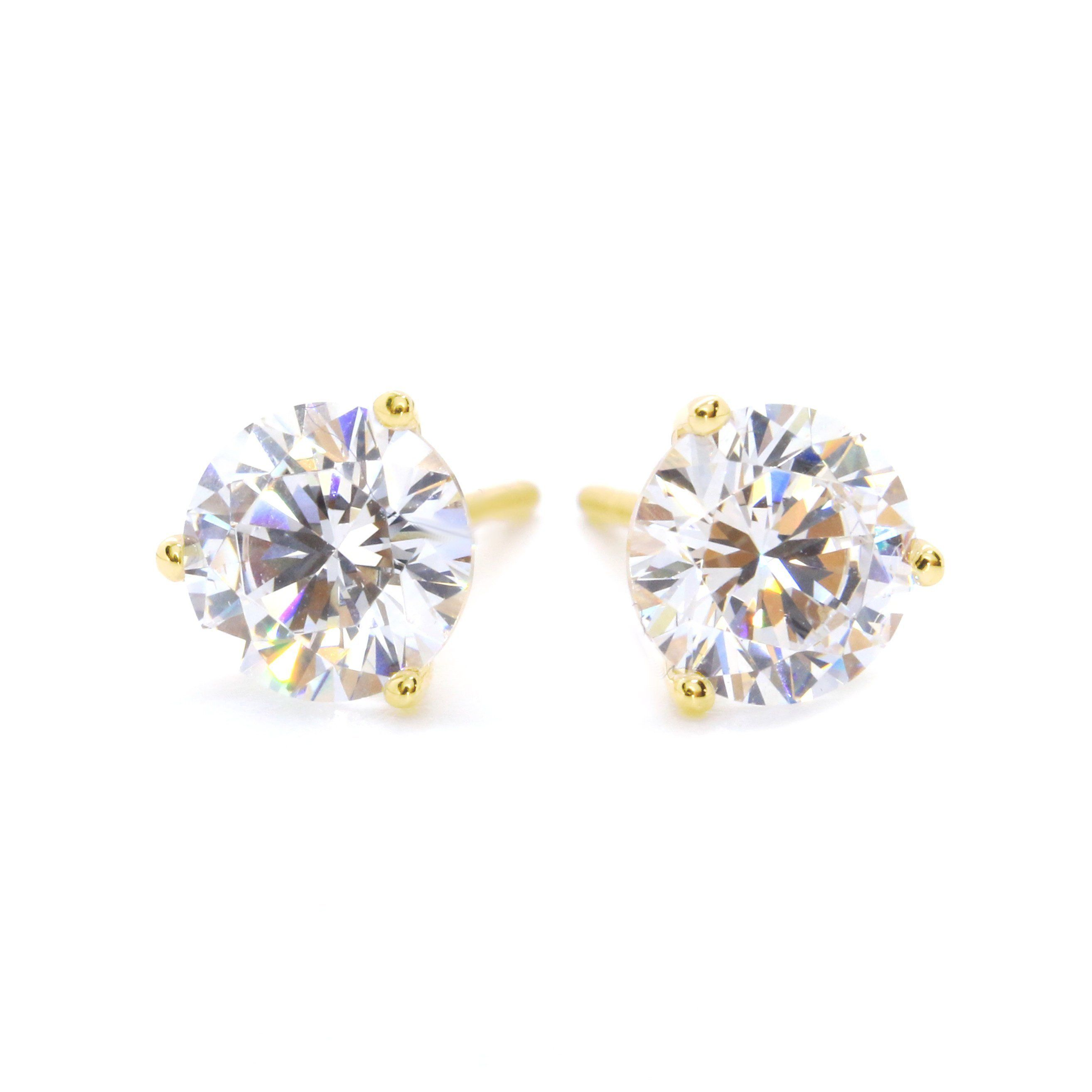 1b905bdf6 1.5 Ct Round Cut Stud Martini Diamond Earrings in Solid 14k Yellow Gold  Screw Back Studs