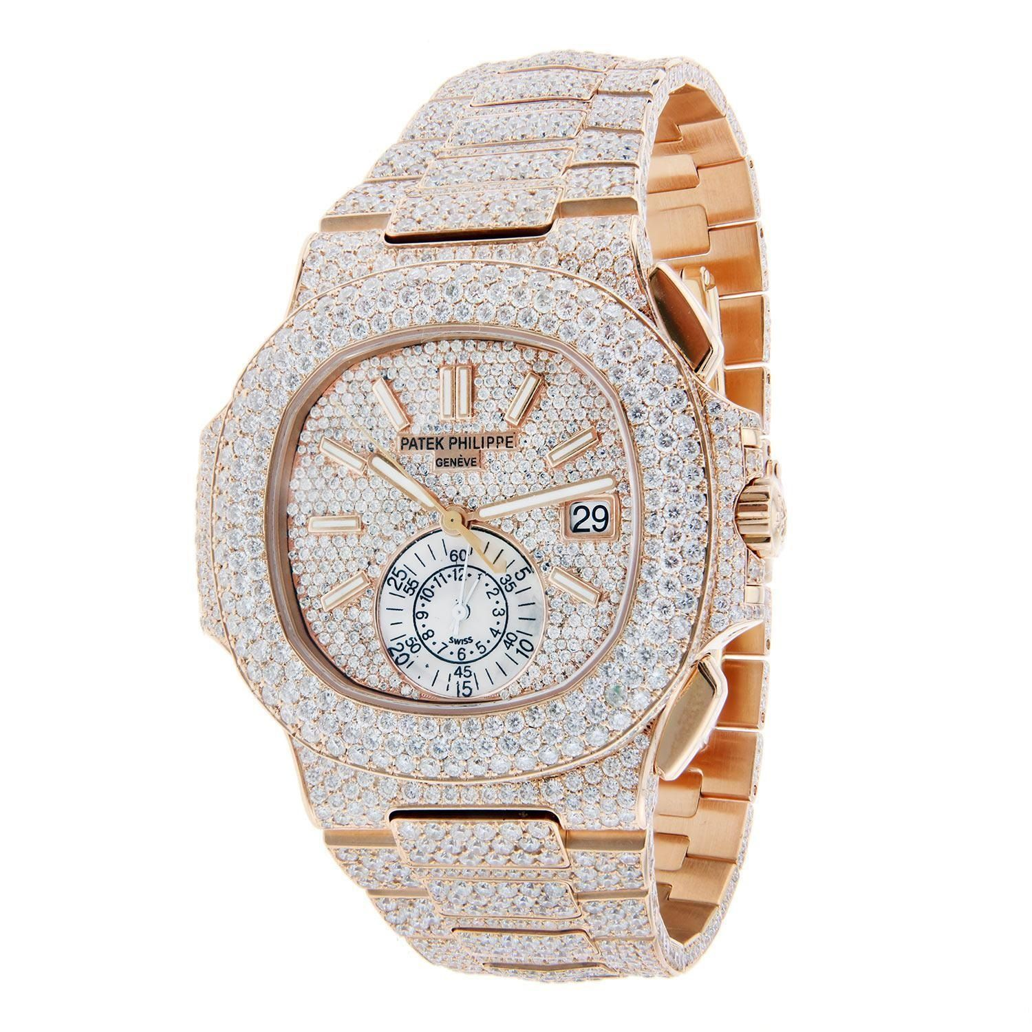 3a5f7800012 Custom Patek Philippe Nautilus Rose Gold Fully Inlaid with F VVS Diamonds  Regular price  145