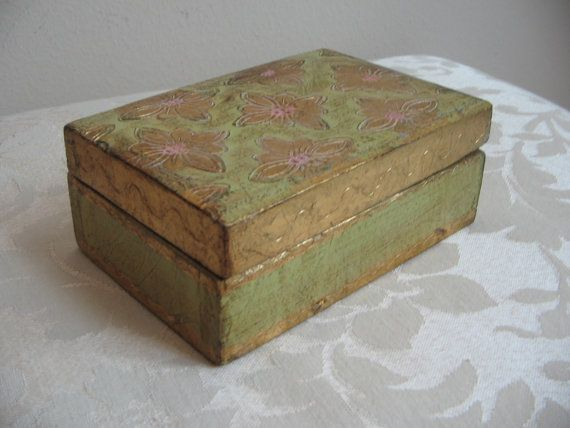 Vintage Florentine Wood Box Gold Gilt Green by vintagenowandthen, $20.00