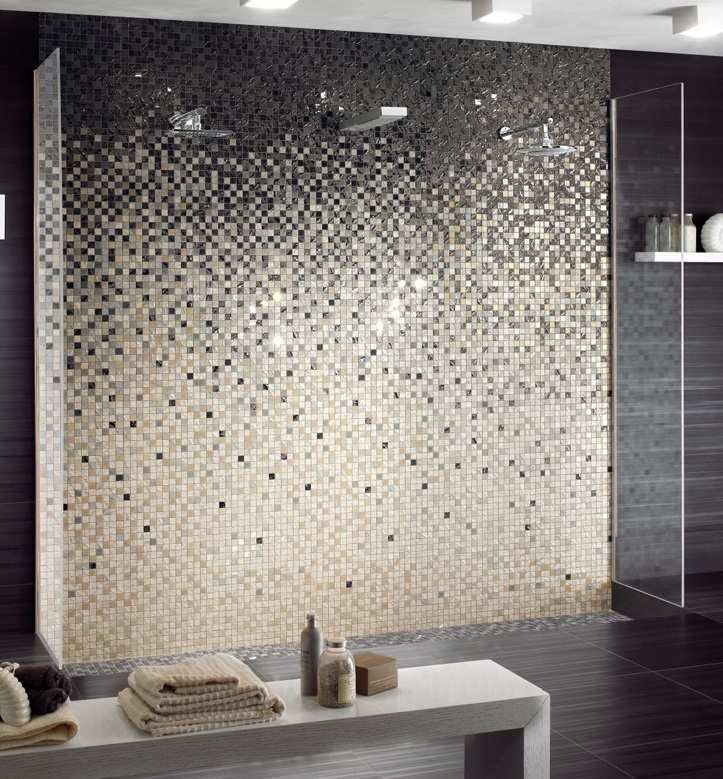 revtement mural salle bain carrelage mosaique beige taupe