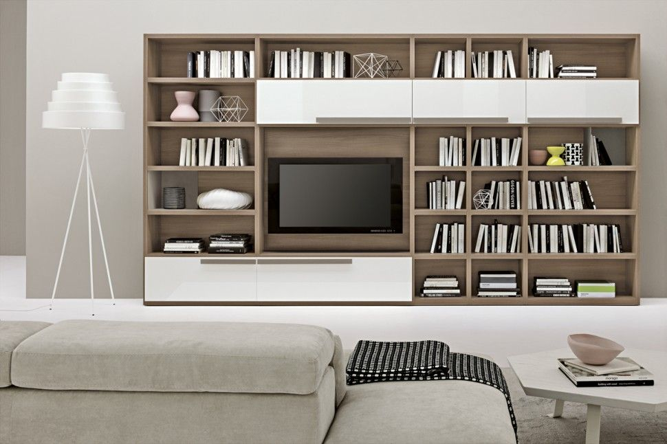 Furniture modern contemporary high quality wall mounted for Modern living room shelving units