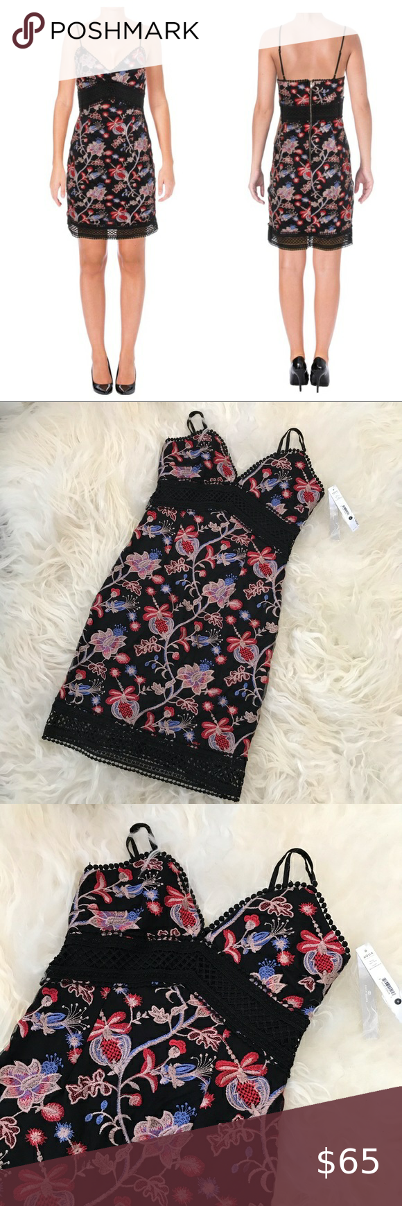 Aqua Floral Embroidery Scalloped Trim Casual Dress Casual Dress Clothes For Women Clothes Design