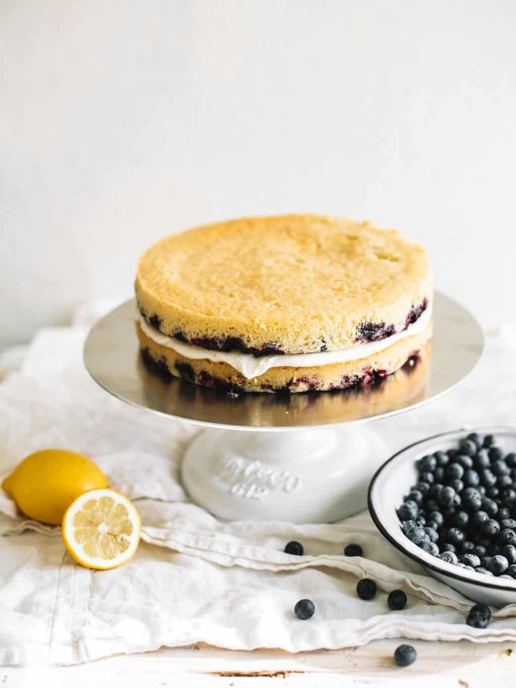 Lemon Blueberry Cake with Lemon Buttercream #lemonbuttercream Lemon Blueberry Cake with Lemon Buttercream #lemonbuttercream