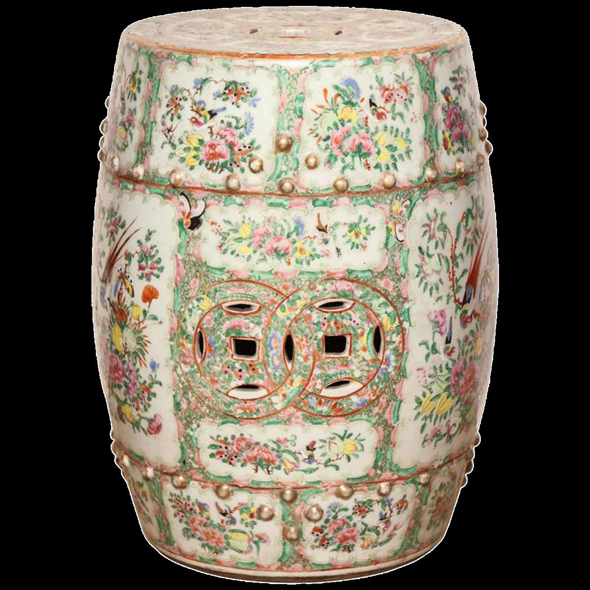 Chinese Rose Medallion Porcelain Garden Seat is part of garden Seating Bohemian -
