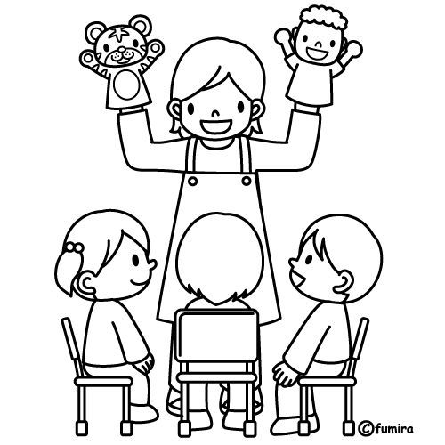 Coloring Pages: Theacher with puppets, free coloring pages | Mural ...