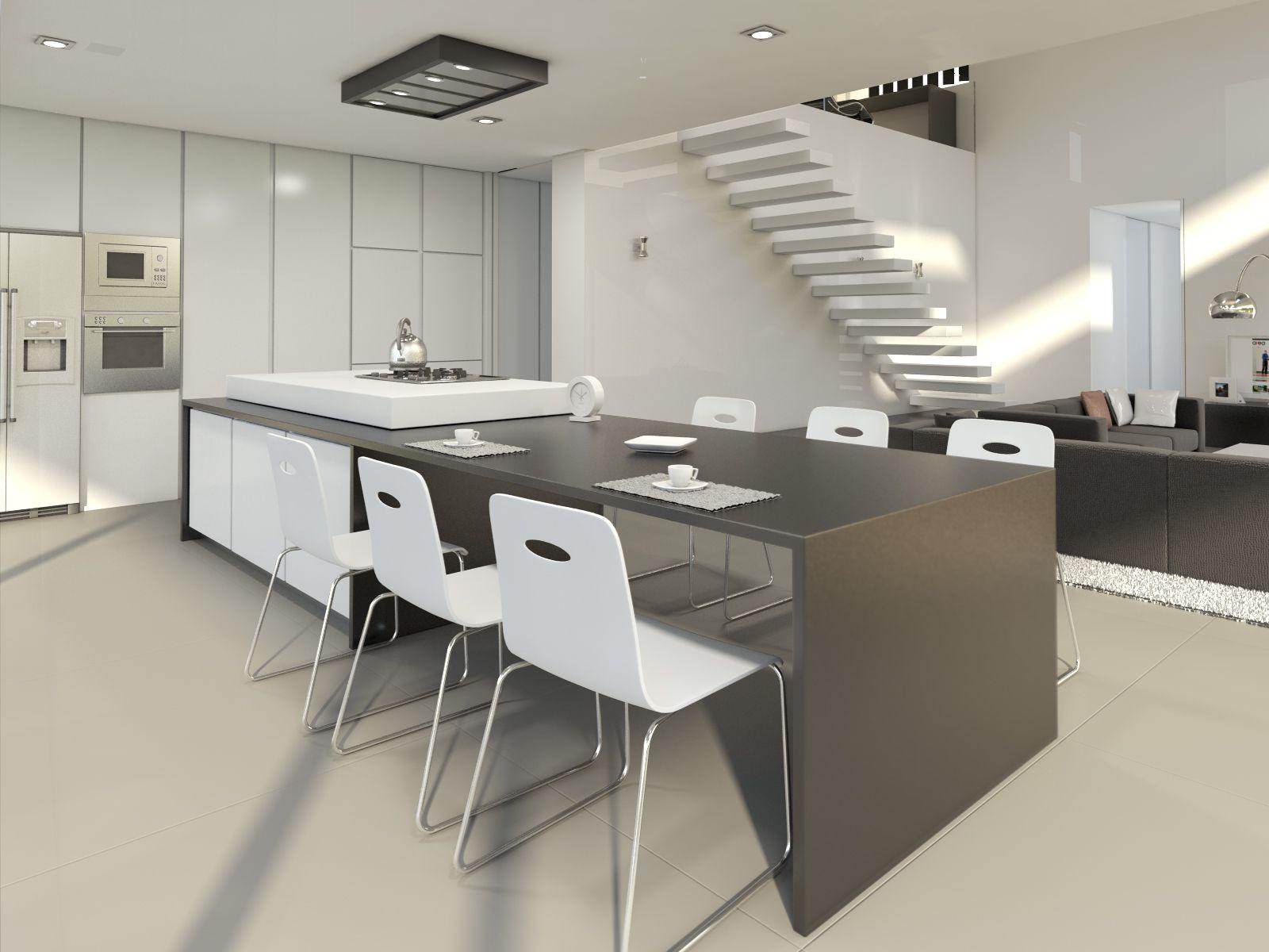 Casa de espacios abiertos en este proyecto la cocina de estilo oriental y el sal n se unen - Pisos nuevos en sevilla este ...