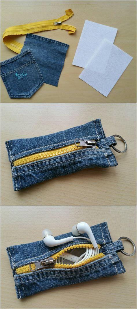 """Photo of Schlüsselanhänger """"Taschen-Etui"""" mit Reißverschluss aus Jeansresten 🎀 (mit…"""