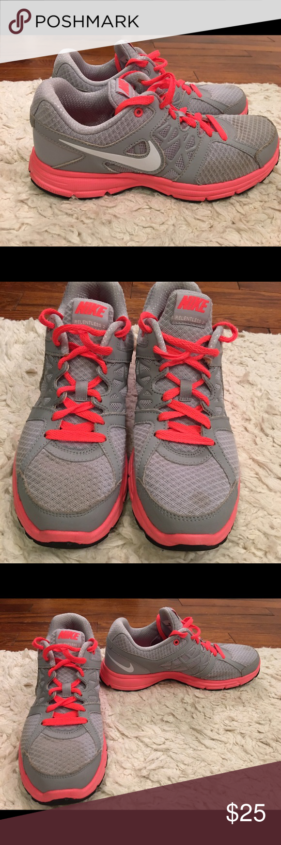 8d5796a6d7a9aa Spotted while shopping on Poshmark  Nike grey   neon coral tennis shoes!   poshmark