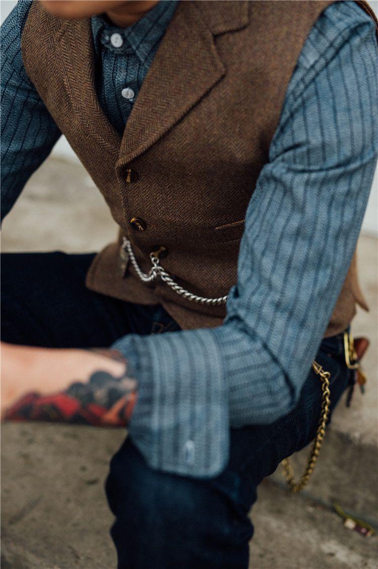 Groom Vests Brown Tweed Wool Herringbone Groom Vests British Style Mens Suit Vests Slim Fit Mens Dress Vest Custom Wedding Waistcoat Formal Vest And Tie Formal Mens Vest Fashion Mens
