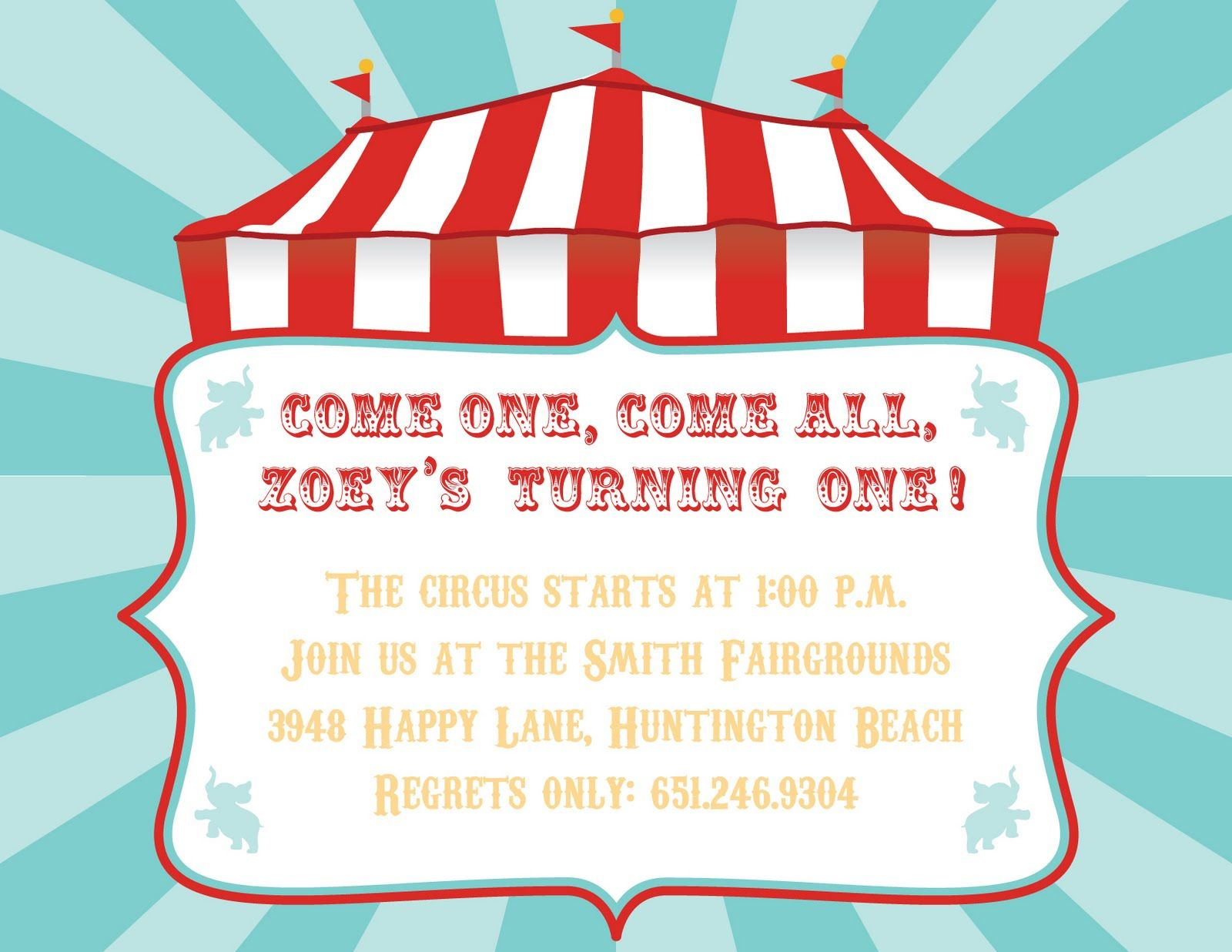 Dajon Design Dajon Design Circus Invitations Circus Birthday - Party invitation template: carnival theme party invitations templates