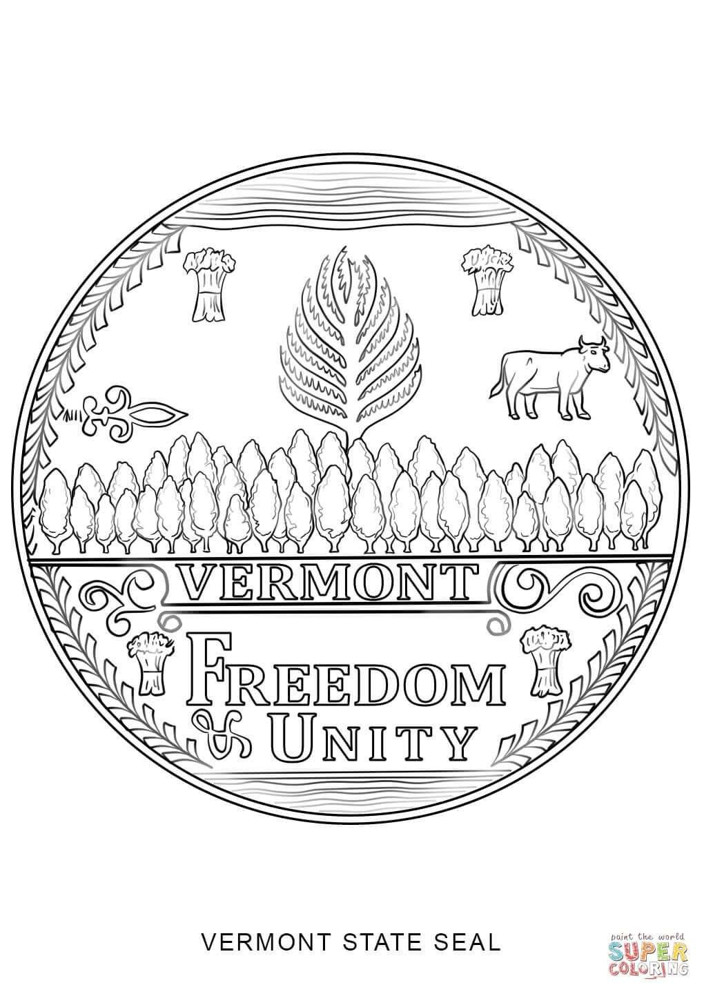 Click the Vermont State Seal coloring pages to view
