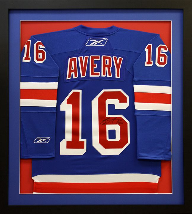 New York Rangers Avery Hockey Jersey Framed In A Shadowbox