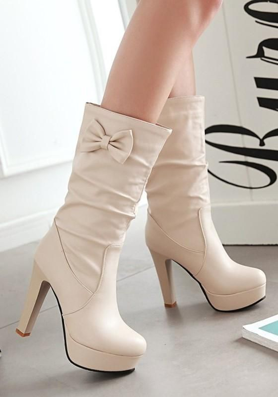 New Women Apricot Round Toe Chunky Bow Sweet Mid-Calf Boots 1