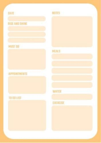 Orange complete daily planner template, customizable and printable