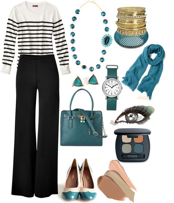 """Pop of Teal"" by bernzz on Polyvore"