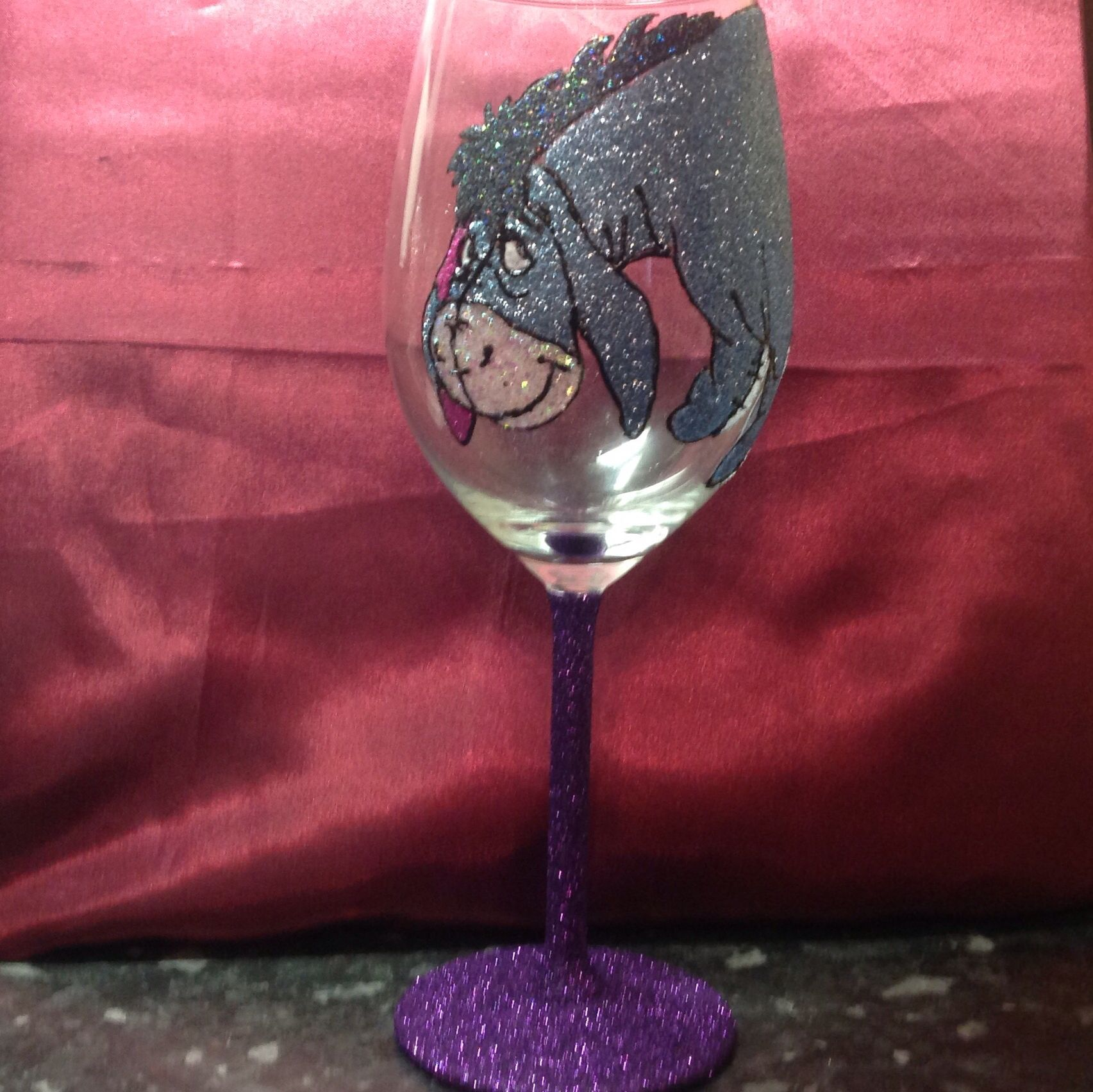 Eeyore Wine Glass Available In My Etsy Shop Eeyore Glitter Wineglass Eeyore Eeyore Quotes Etsy Shop