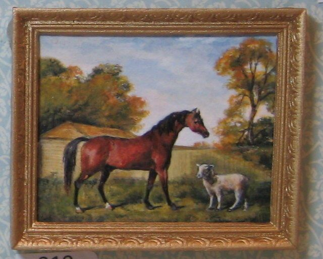 "Stubbs- Hand painted ""original"" old masters painting in miniature."