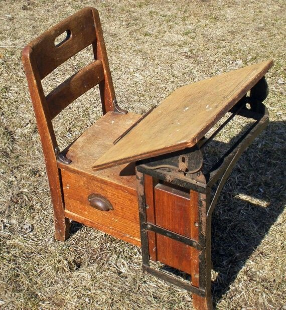 Antique Children's School Desk - Antique Children's School Desk Infant/Toddler Education
