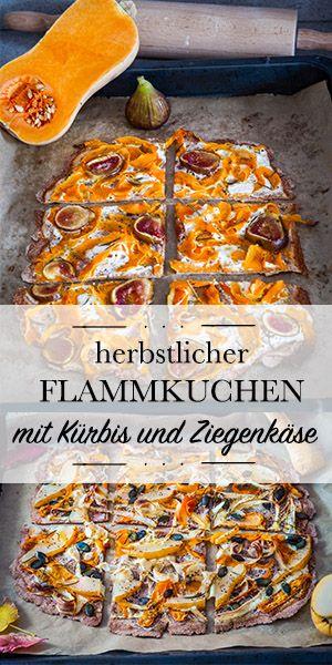 Schneller herbstlicher Flammkuchen mit Kürbis und Ziegenfrischkäse #foodporn