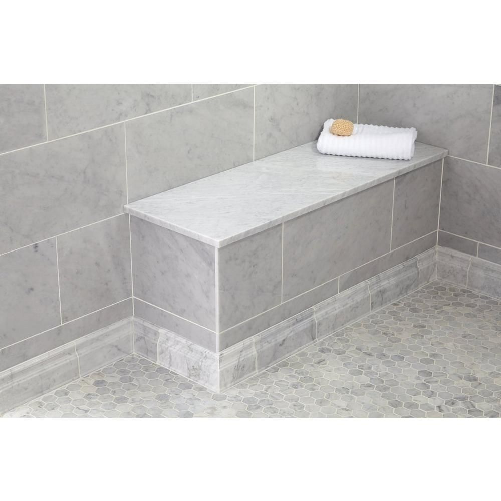 Carrara Marble 17 X 49 In Rectangle Shower Bench Polished Marble Tiles Marble Showers Granite Shower
