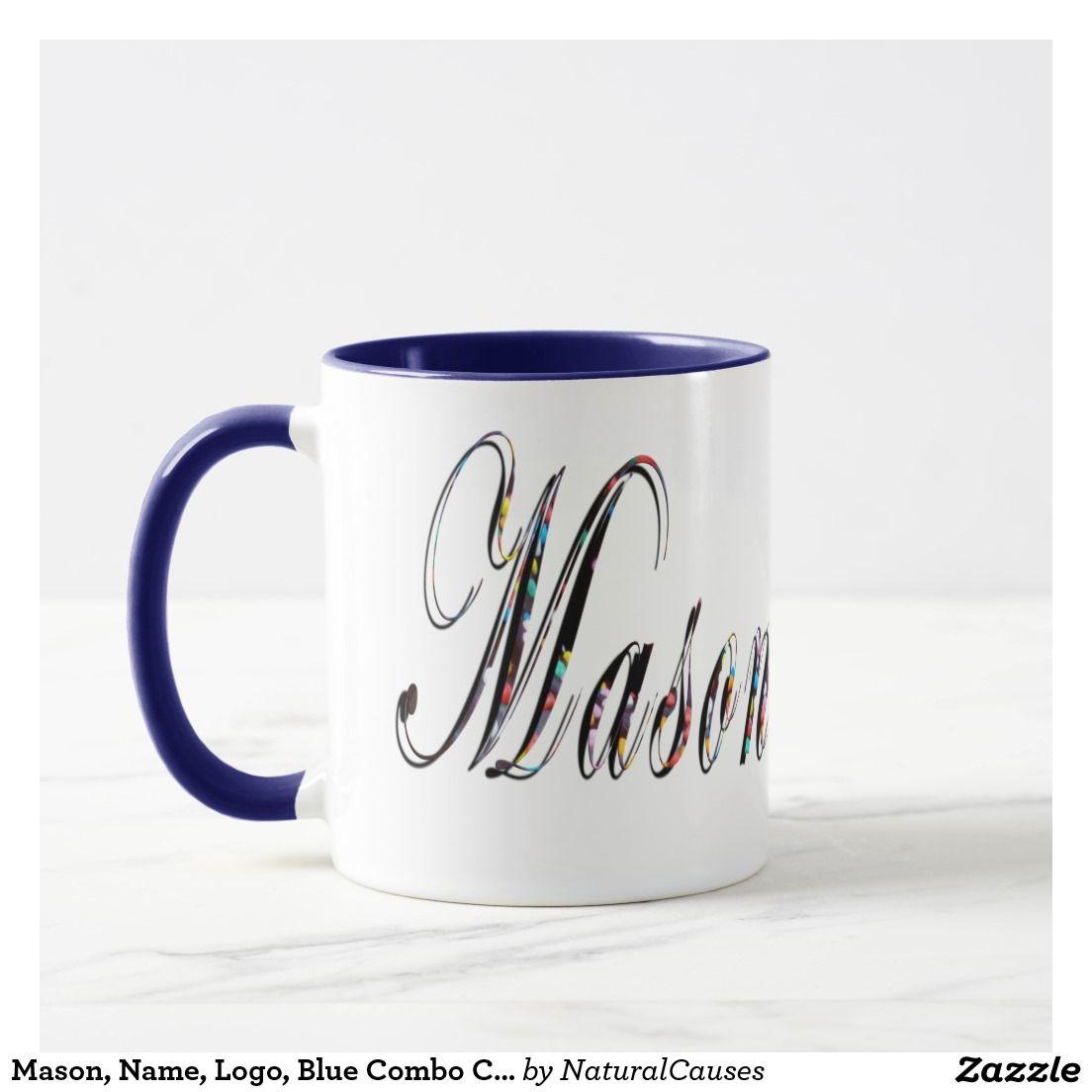 Mason, Name, Logo, Blue Combo Coffee Mug. Mug