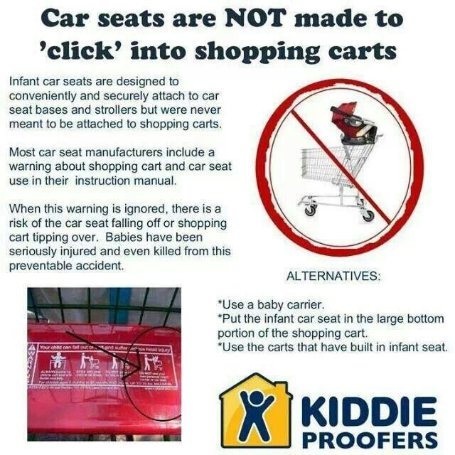 Car Seats Do Not Click Into Shopping Carts They Are Not Safe To Leave On The Top Of Shopping Carts Child Passenger Safety Carseat Safety New Baby Products