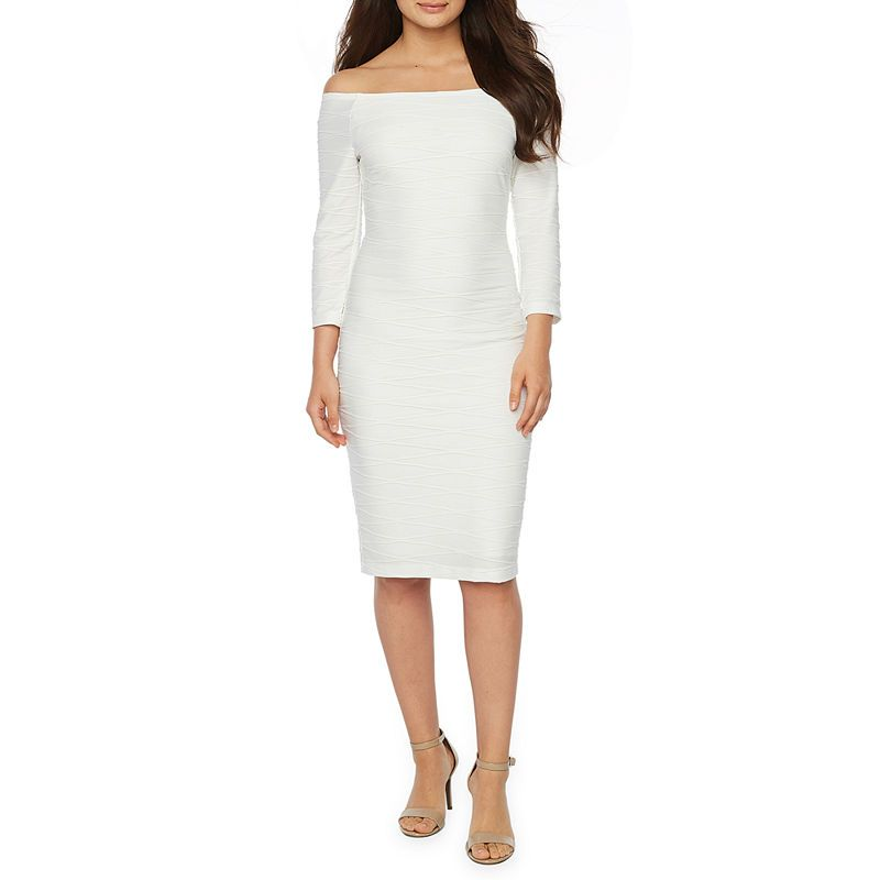 3a96a905 Premier Amour 3/4 Sleeve Off The Shoulder Jacquard Sheath Dress in ...