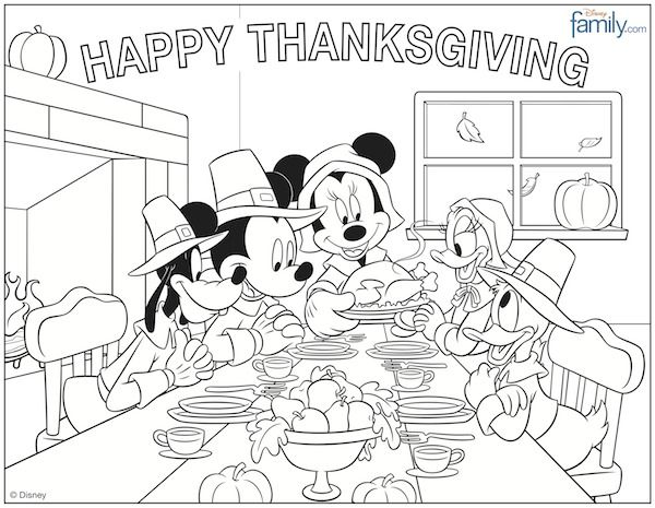 Thanksgiving Mickey  Friends Coloring Pages  Thanksgiving