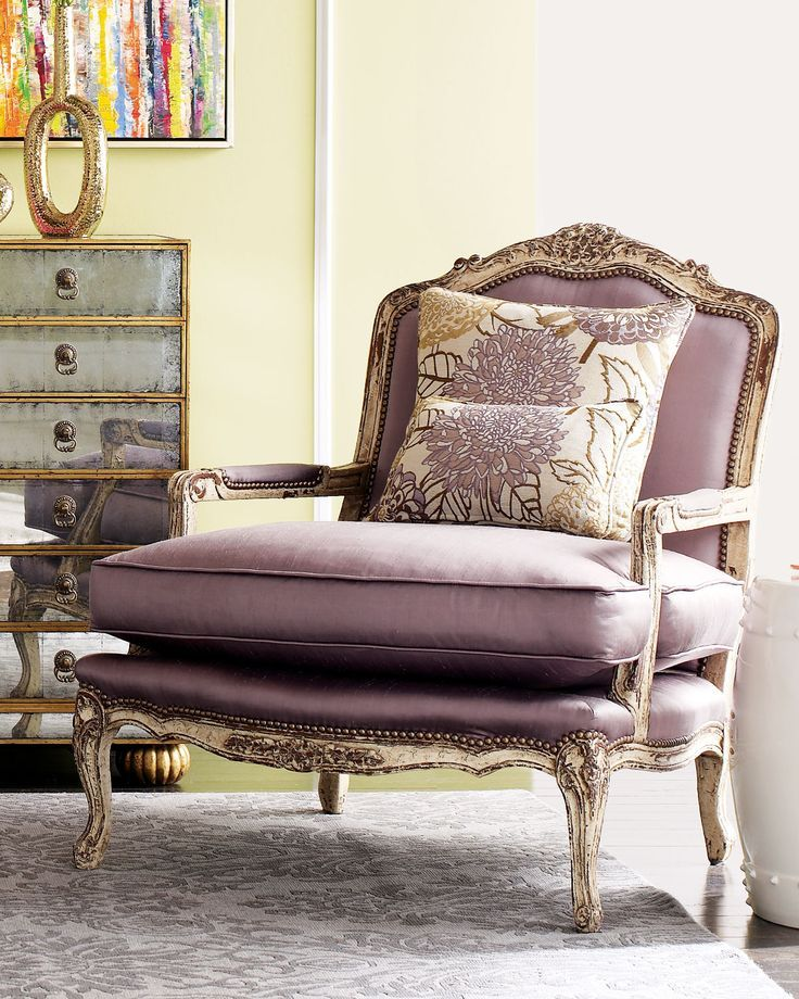 """olivia"""" chair with pale lilac purple fabric 