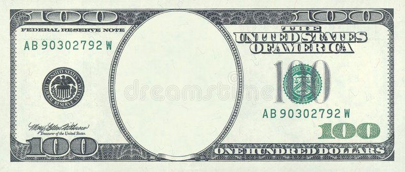 Hundred Dollar Blank Blank Hundred Dollar Bill With Clipping