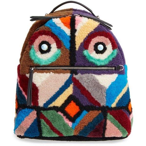 d868c3851ffa Women s Fendi Geometric Genuine Shearling   Genuine Mink Fur Backpack  ( 3