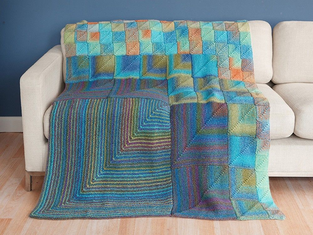 Modular Miters Afghan Knit Lion Brand Yarn Free Pattern
