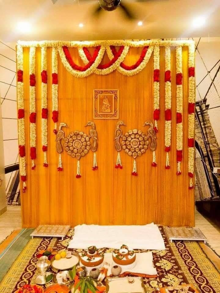 Baby Shower Stage Decoration Ideas In India : shower, stage, decoration, ideas, india, Simple, Decoration, #MarriageDecorationIdeas, Housewarming, Decorations,, Wedding, Entrance, Decor,, Stage, Decorations
