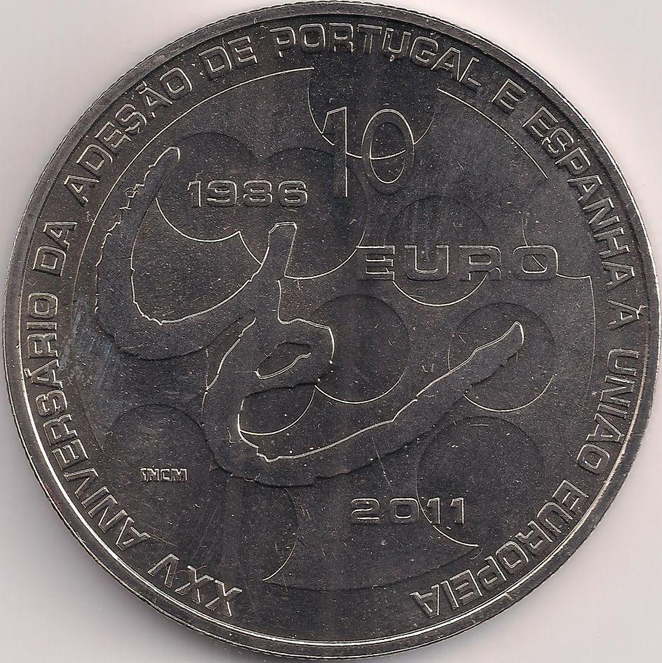 Wertseite: Münze-Europa-Südeuropa-Portugal-Euro-10.00-2011-União Europeia