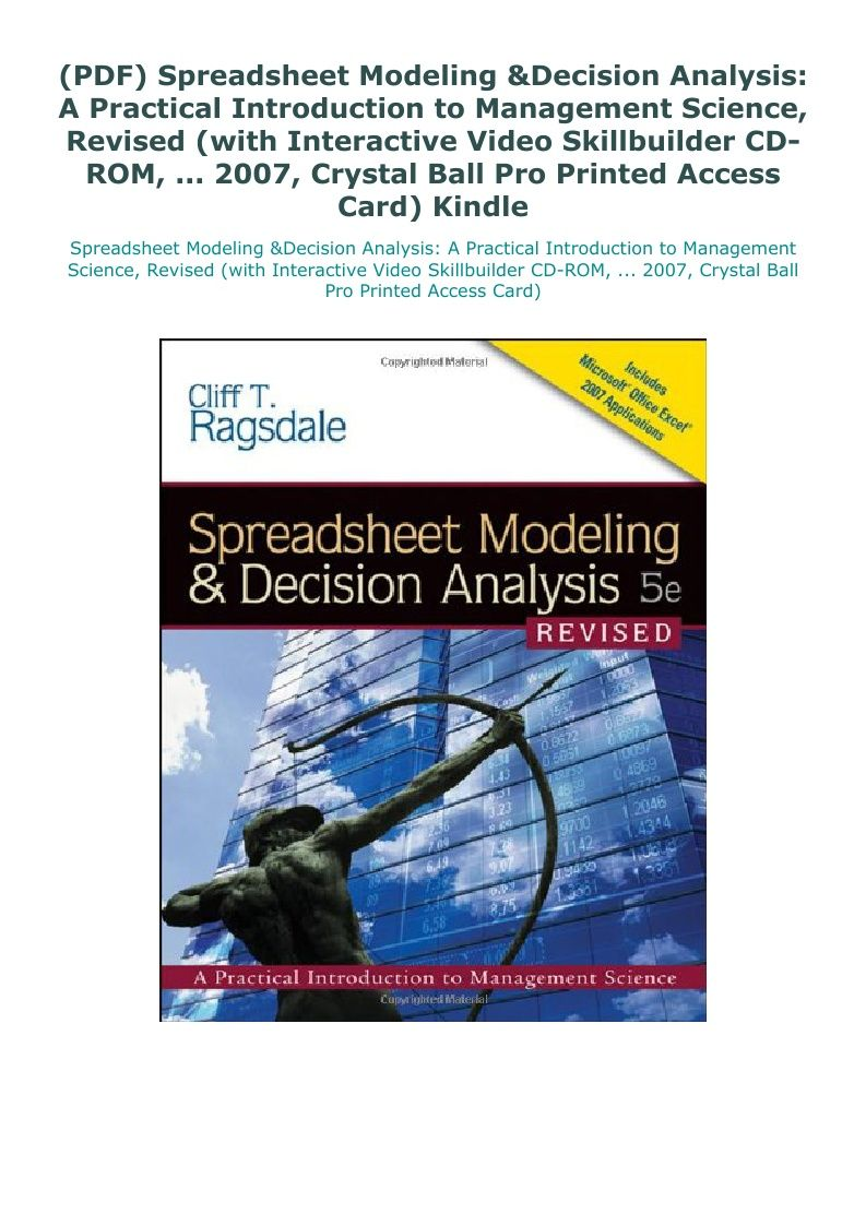 Pin On Jejoka Pdf Spreadsheet modeling and decision