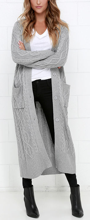 At Great Length Grey Long Cardigan Sweater | Clothes, Winter and ...