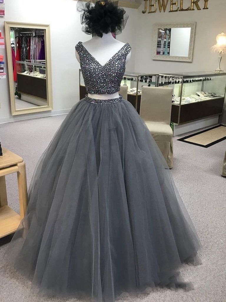2021 Modern Two Pieces Ball Gown V Neck Sleeveless Beaded Tulle Prom Dresses In 2021 2 Piece Prom Dress Grey Prom Dress Prom Dresses Two Piece