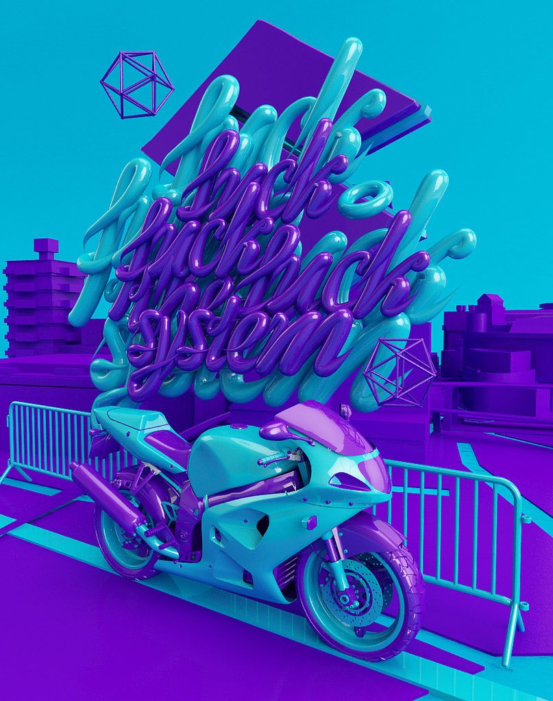 F-ck the System - 3D Typography Design Modelling
