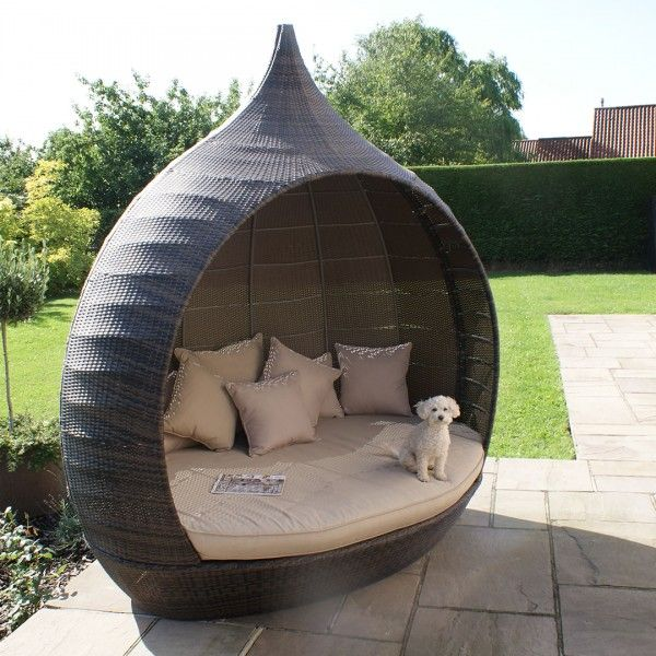 maze rattan pear shape daybed garden furniture brown - Garden Furniture Day Bed