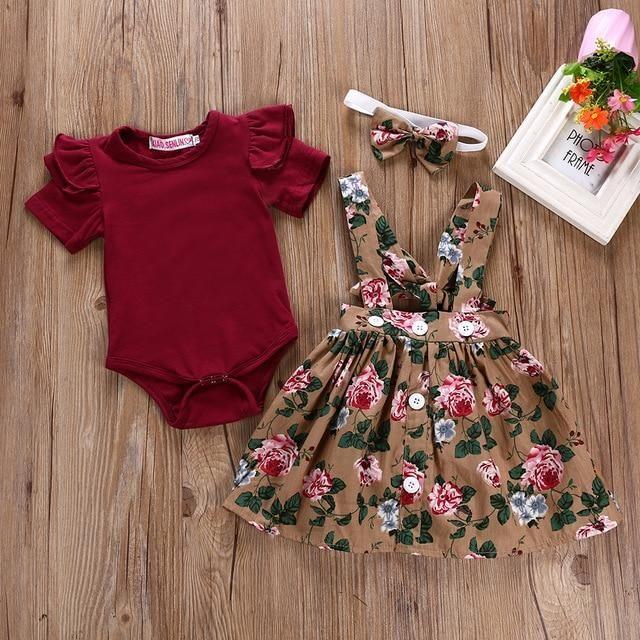 3pcs Newborn Baby Girl Clothes Short sleeve Romper