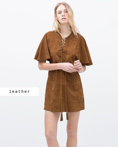 BRAIDED SUEDE DRESS