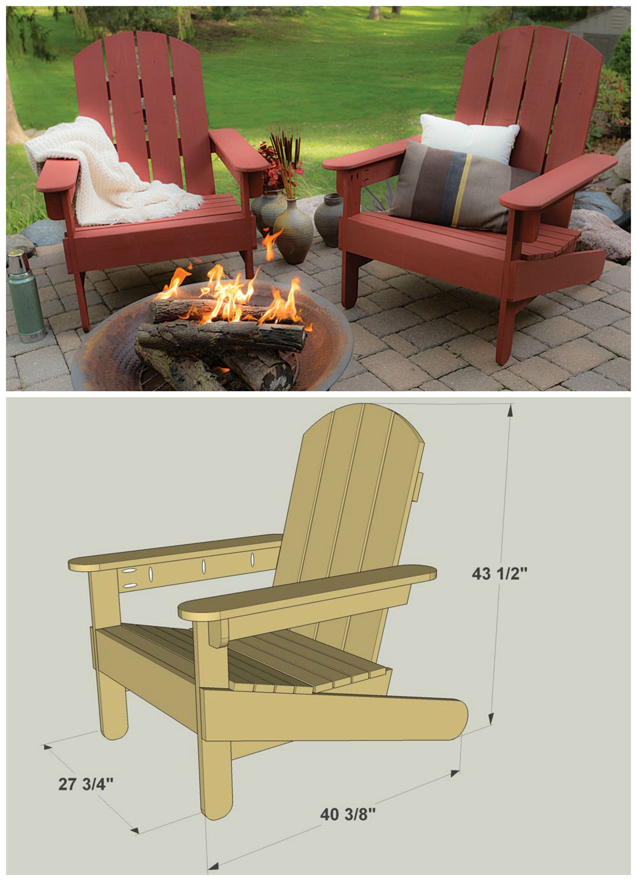 DIY Adirondack Chairs :: FREE PLANS at buildsomething.com | Lá fora ...