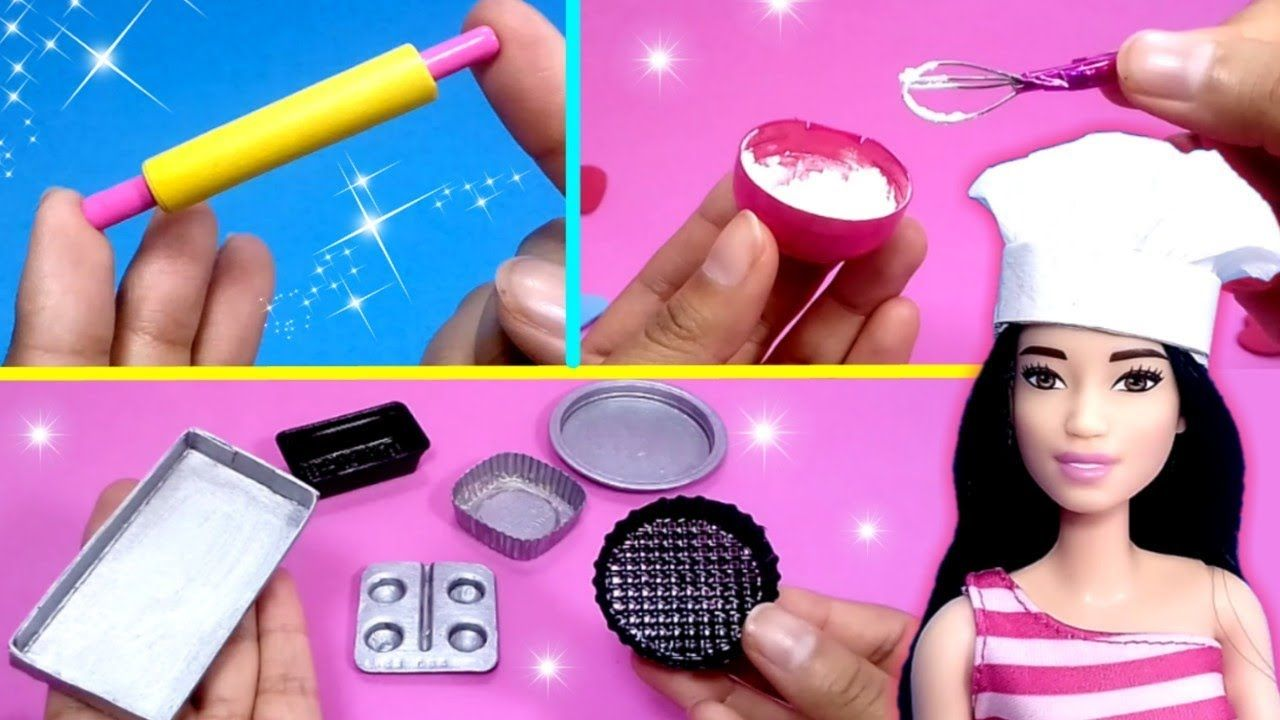 Como Hacer Cosas De Cocina Para Muñecas Barbie Fácil Diy Miniature Kit Barbie Dolls Diy Diy Doll Doll Diy Crafts