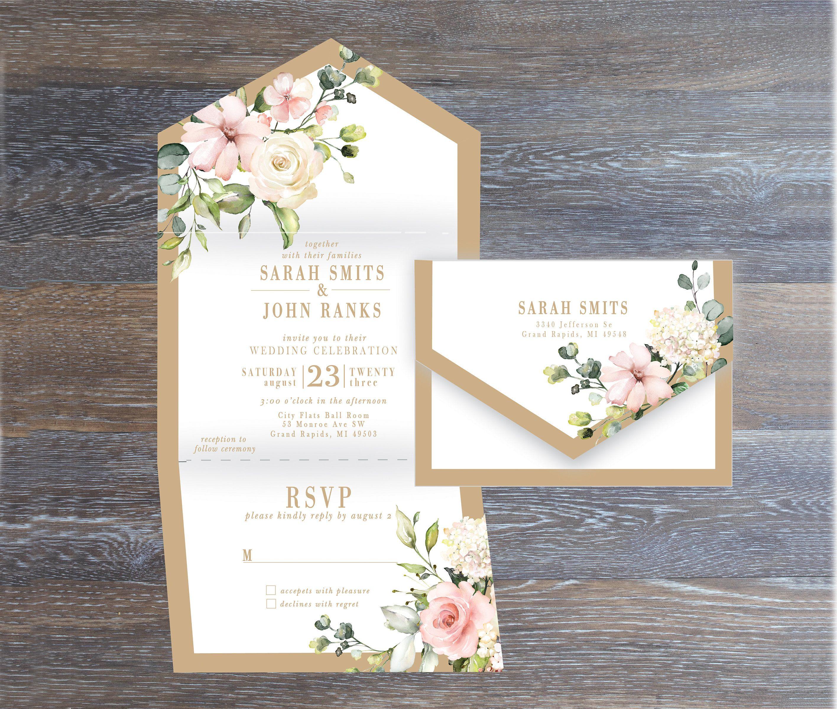 Printed allinone wedding multifold invitation self