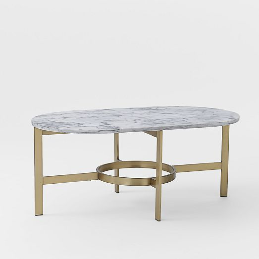 West Elm Stone Top Coffee Table: Marble Oval Coffee Table With Antique Brass Base // West