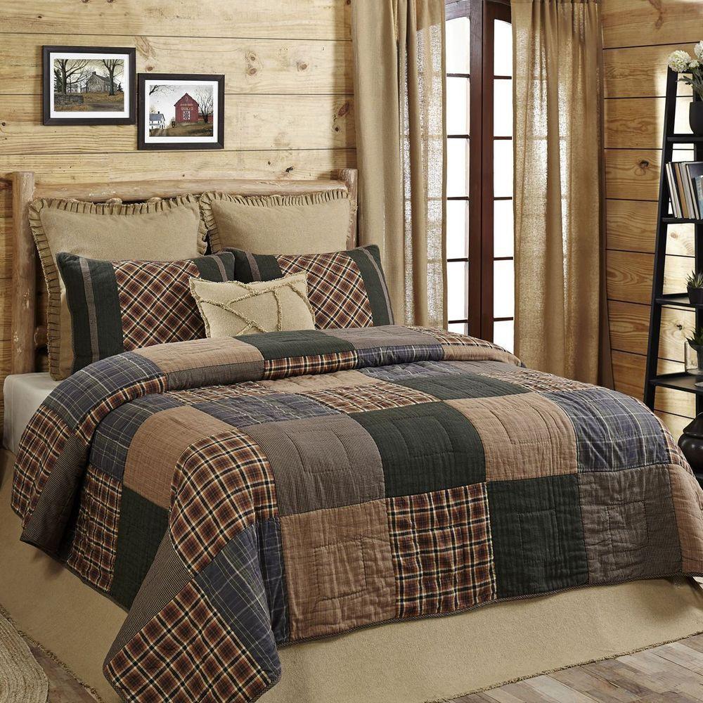 HENLEY Queen 3p Quilt Set Rustic Primitive Plaid Brown/Blue ... : plaid comforters and quilts - Adamdwight.com