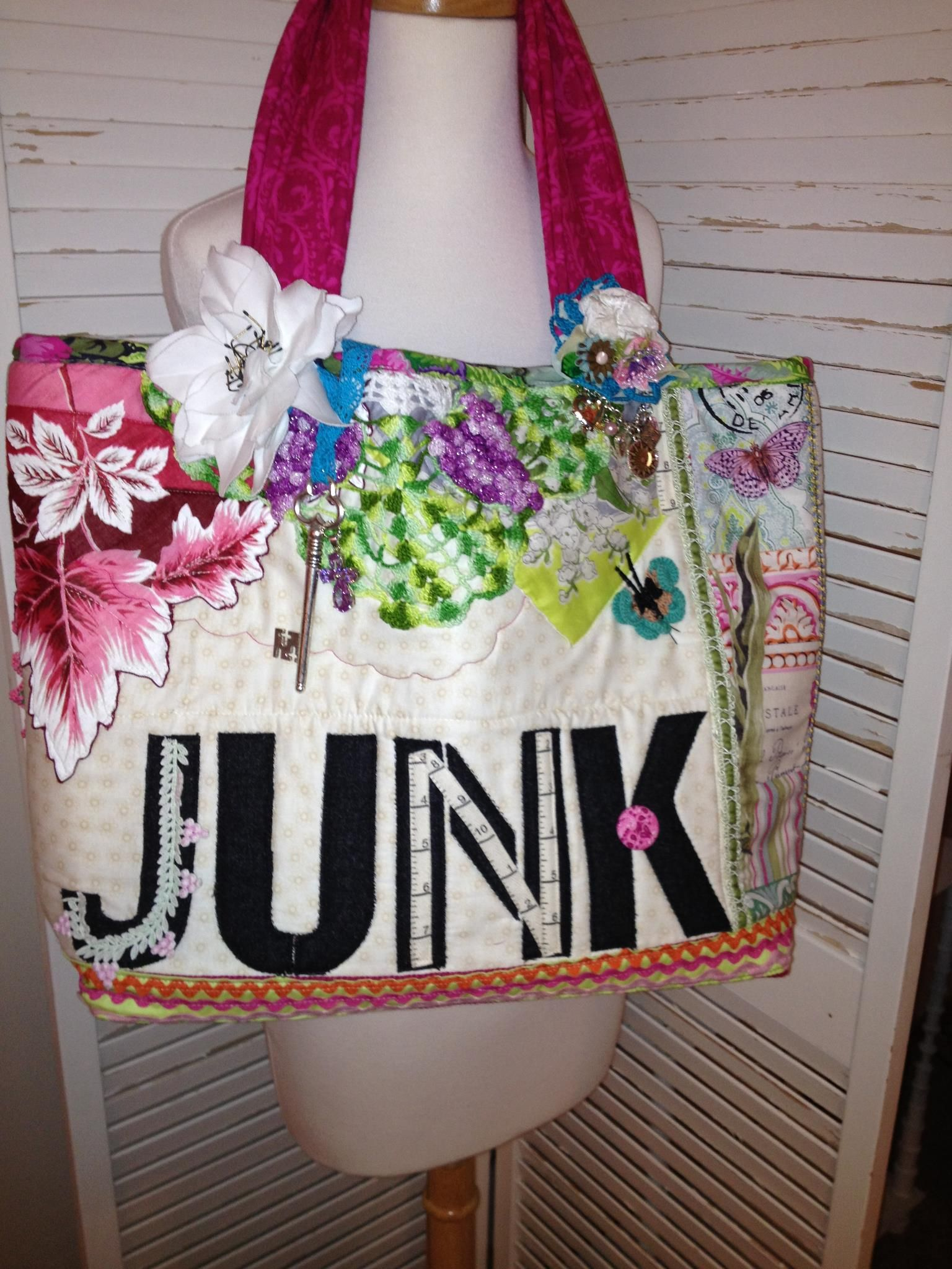 Embellished sew pretty!  Vintage hankies & crochet .  PDF download pattern www.jackieclarkdesigns.com