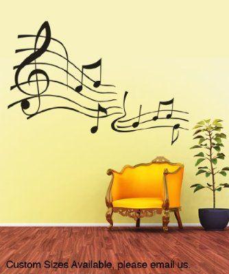 Stickerbrand© Music Vinyl Wall Art Music Notes Wall Decal Sticker ...